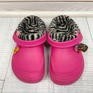 Crocs Kids shoes girl size 12-13 winter pink zebra